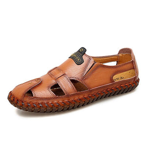 New Quality Genuine Leather Men Sandals Outdoor Summer Flip Flop Casual Shoes Men Beach Sandalias Men Shoes Big Size 39-48