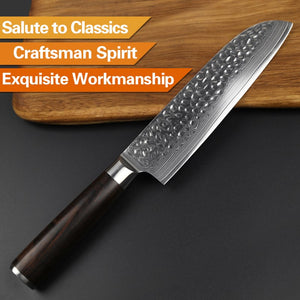 XINZUO 5 PCS Knife Set Kitchen Cutlery Japanese VG10 Damascus Forged Bread Santoku Chef Paring Utilities Knives with Gift Box