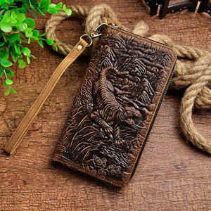 Newest Cattle Male Genuine leather Fashion Card Holder Checkbook Zipper Around Organizer Wallet Purse Design Clutch Handbag