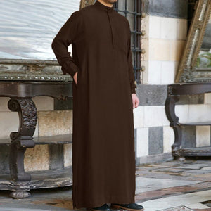Muslim Clothing Thobe Jubba Mens Robe Long Sleeve Saudi Arab Thobe Kaftan Ropa Arabe Islamic Thobe