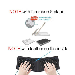 Portable Leather folding Mini Bluetooth Keyboard Foldable Wireless Keypad for iphone,android phone,Tablet,ipad,PC