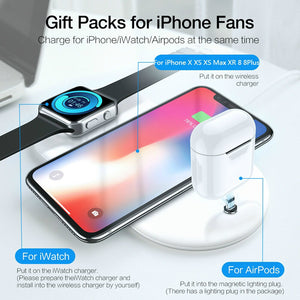QI Wireless Charger For Apple Watch iphone AirPods Chargers 3 in 1 Wireless Charger For iPhone X XS Max XR 8 8Plus Charger Pad
