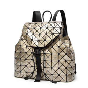 Women Backpack Luminous Geometric Plaid Sequin Holographic Backpack
