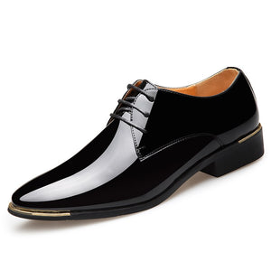 2019 Newest Men's Luxury Dress Shoes Patent Leather Oxford Mens Shoes Italy White Derby Formal Male Flats Drop Shipping Plus Size 3847