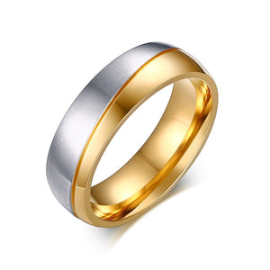 Romantic Wedding Rings For Lover Gold-Color Stainless Steel Couple Rings For Engagement Party Jewelry Wedding Bands