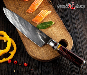 GRANDSHARP 67 Layers Japanese Damascus Steel Damascus Chef Knife VG-10 Blade Damascus Kitchen Knives Pakka Handle PRO Chef Knife