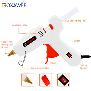 Goxawee Professional Hot Melt Glue Gun Set with 22pcs hot glue gun sticks copper nozzles and stand knives for DIY Repair tools