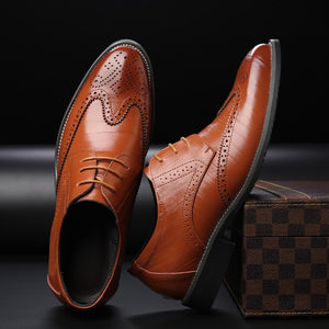 2019 Best n Newest Brand business mens dress shoes genuine leather tan black Italian fashion male shoes
