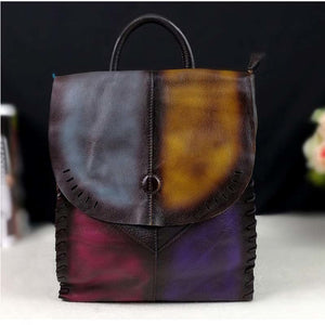2018 new simple casual suede cowhide bag retro color handmade  leather backpack women backpack