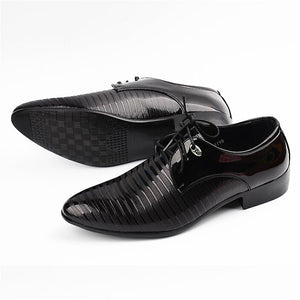 2019 Newest Fashion Men's Lace-Up PU Leather Dress Business Office Shoes Mens Wedding Flats Man Casual Party Driving Oxfords