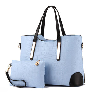 Women Bag Vintage Messenger Bags Shoulder Handbag Women Top-Handle Crocodile Pattern Composite Bag Purse Wallet Leather