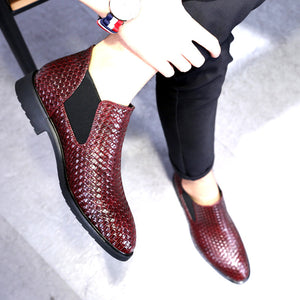 Newest Men's Chelsea Boots Spring & Autumn  Best Handed Knit High Quality help Style Waterproof Classic Fashion Leather Boots Men Shoes 38-48