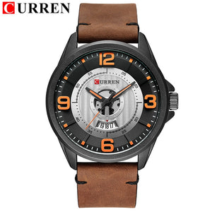Mens Watches Leather Wristwatch Analog Army Military Waterproof