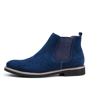 OUDINIAO Spring Fashion 2018 Chelsea Boots Men Slip On Cow Suede Cowboy Boots Mens Round Split Leather Men Ankle Boots Winter