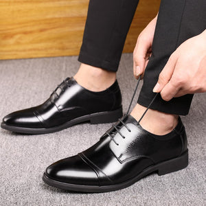 sAutumn Winter New Breathable Business Dress Shoes Men's Split Leather Pointed Formal Men Derby Shoes Lace-up Office Oxfords