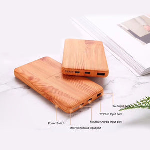 Wood Design Wireless Charger 10000Amh Power Bank Portable USB Type C Qi Wireless Charging Pad Power bank for iPhone X 6 7 8 Plus