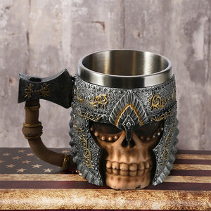 Newest 1Pcs 3D Axe  Handle Viking Warrior 450ML Skull Mug Gothic Tankard Halloween Decoration Skeleton Beer  Cup