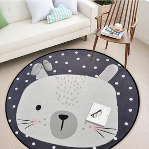 White Grey Cartoon Animals Bear Fox Panda Round Tapete For Living Room Bedroom Home Decor Carpet Rug Children Kids Soft Play Mat