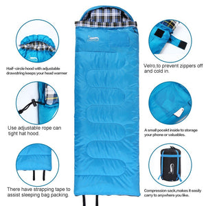 Desert&Fox Cotton Flannel Sleeping Bags with Pillow,Winter Type Portable Backpacking Compression Sack Camping Sleeping Bag