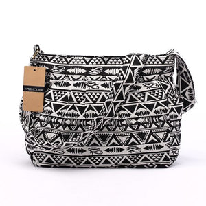 Women Crossbody Bag Vintage Large Capacity Shoulder Bag Multi-pocket Cotton Messenger