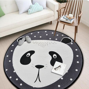 Children Kids Soft Play Mat White Grey Cartoon Animals Bear Fox Panda Round Tapete For Living Room Bedroom