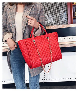 Newest Large Shoulder Bag Women Travel Bags Leather Pu Quilted Bag Female Luxury Handbags Women Bags Designer Sac A Main Femme