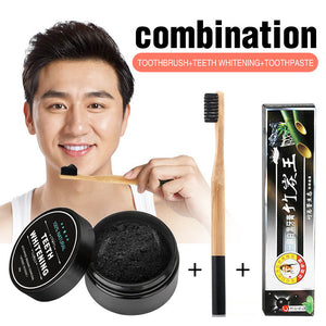 3 IN 1 Teeth Whitening Set Bamboo Charcoal Toothpaste Strong Formula Whitening Tooth Powder Toothbrush Oral Hygiene Cleaning