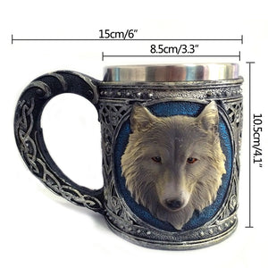 3D Wolf Mug Cartoon Animal Lone Wolf King Drinking Cup Retro Resin Stainless Steel Lining Tea Beer Coffee Mug Gift