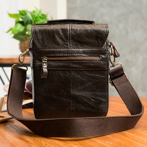 "Quality Original Leather Male Casual Shoulder Messenger bag Cowhide Fashion Cross-body Bag 8"" Pad Tote Mochila Satchel bag 144"