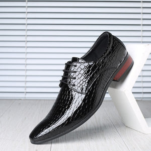 Newest & Newly Men's Quality Patent Leather Shoes hombre Size 38-48 Black Leather Soft Man Dress Shoes