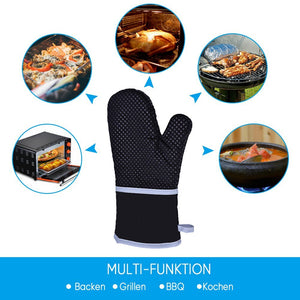 Heat Resistant BBQ Gloves Cooking Baking Barbecue Oven Gloves Thick Silicone Grill Kitchen Mitts Hand Protect Gloves BBQ Tool