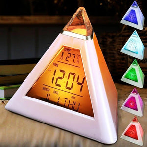 Digital LED Alarm Clock Sound Control Wooden Alarm Clock LED Desktop Table Clock with Temperature