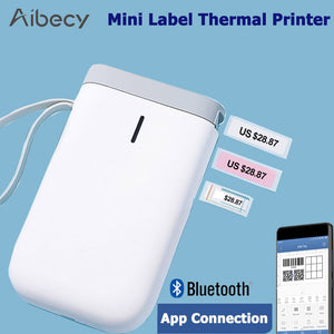 Portable Thermal Label Printer Handheld Name Price Sticker Printer BT Connection with USB Cable for Home Office Supermarket