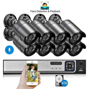 Gadinan 8CH 5MP HDMI POE NVR Kit CCTV System Face Detection Playback 5.0MP Outdoor Audio Record IP Camera Video Surveillance Set