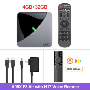 TV Box Android 9.0 Amlogic S905X3 4GB 64GB Dual Wifi 8K/4K 60fps Netflix Youtube Smart TV A95X Air