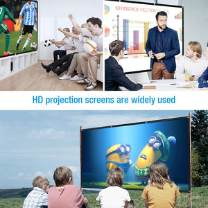 New 60/72/84/100/120/150inch 3D HD Projector Screen 16:9 Anti-Crease Projection Movies Screen For Home Outdoor With Pack Hooks