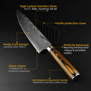 Kitchen knife Chef Knives Japanese 7CR17 440C High Carbon Stainless Steel Imitation Damascus Sanding Laser Knife