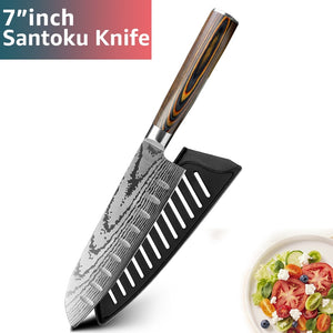 6 Pcs Kitchen knife Chef Knives Japanese 7CR17 440C High Carbon Stainless Steel Imitation Damascus Sanding Laser Knife