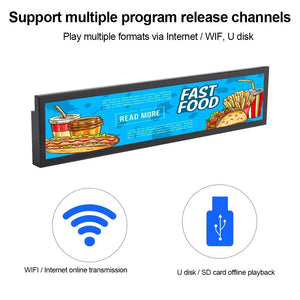 19'' inch Fhd ultra-wide stretched led advertising Android smart lcd screen shelf bar wifi display