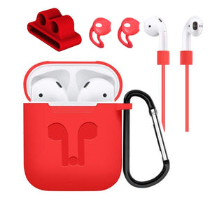 Compleet Set All in 1 Pack of 5 Accessories Silicone Case Cover Earphones Pouch Anti Lost Strap Holder Eartips Carabiner Buckle for Apple AirPods Case