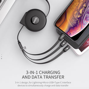 HOCO 3 in 1 USB Cable for iPhone X XS Max XR Cable Micro USB Type C Cable for Samsung S9 Fast Charging Cable Retractable Charger
