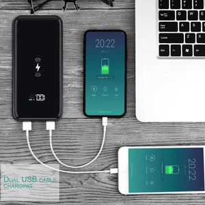 20000mAh QI Wireless Charger 2 USB Power Bank For iPhone XS Max XR X 8 Samsung S9 S8 Xiaomi External Battery Charging Pad
