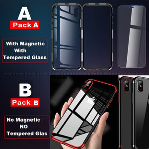 Metal Magnetic Case for iPhone XR XS MAX X 8 Plus 7 6G 6S PLUS +Tempered Glass Back Magnet Cases Cover