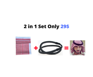Men Muslim Headscarf Plaid Polyester Islamic Traditional Prayer Scarf Hat Cap Hijab Ramadan Shemagh Square Turban 2 in 1 set 138*138cm