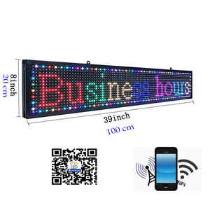 7-Color Indoor P10 led Sign (100x20 cm) programmable USB&WiFi Rolling Information LED Display FREE Shipping with DHL