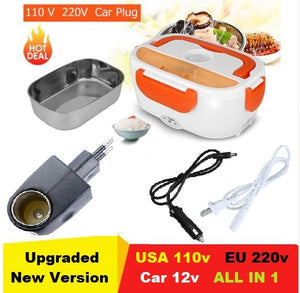 Food Heater Multi-functional All in 1 Lunch Box with Spoon Portable Electric for Home Office Car