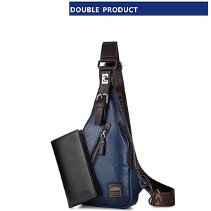 Men's Fashion Crossbody Bag Theftproof Rotatable Button Open Leather Chest Bags Men Shoulder Bags Chest Waist Pa
