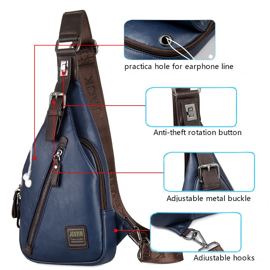 JackKevin Men/'s Fashion Crossbody Bag Theftproof Rotatable Button Open Leather C