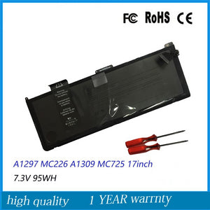 "Apple Macbook Pro 17"" (mid 2010+mid 2009+Early 2009) A1297 (6,1+5,2) Battery Model A1309 7.3v 95Wh  With Tools"