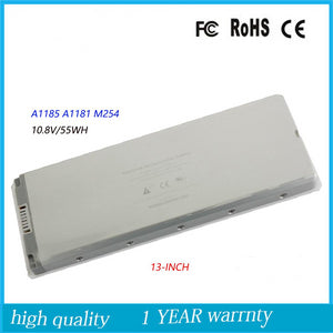 Apple Macbook (mid/early 2009+late /early 2008+late/mid  2007+late/mid  2006) A1181 (1,1+2,1+3,1+4,1+5,2) Battery Model A1185  10.8V 55WH